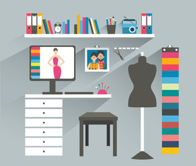 Office workplace. Fashion designer office. Flat design vector illustration.
