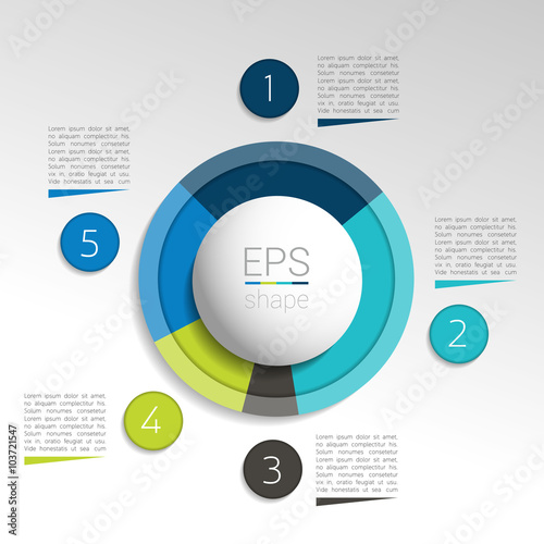 Circle Round Infographic Pie Chart Graph Vector Design Stock
