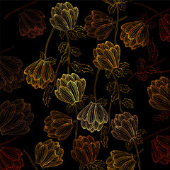 Fototapeta Vector gold background with floral decoration