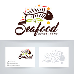 Seafood restaurant vector logo with business card template
