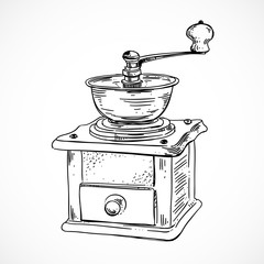 Vintage coffee mill on white background. Sketched outline vector coffee grinder