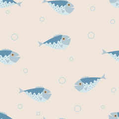 The seamless vector pattern with the blue fishes