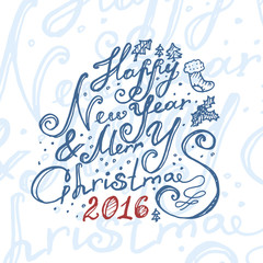 Hand drawn Happy New Year and Merry Christmas card. Vector illustration.