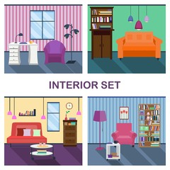 Four interiors of living room. 4 rooms. Comfortable flat room. Vector home interior in flat design.  Desk and lamp, bookcase and coffee table, table and chair, floor lamp and picture
