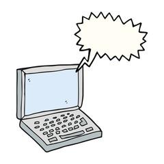 speech bubble cartoon laptop computer