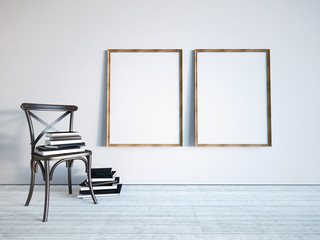 Frames and a chair with books. 3D rendering