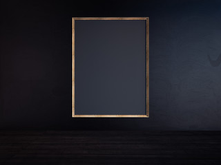 Blank frame on a black wall. 3D rendering