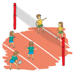 an illustration with a volleyball match between children