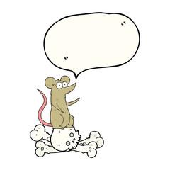 speech bubble cartoon rat on bones