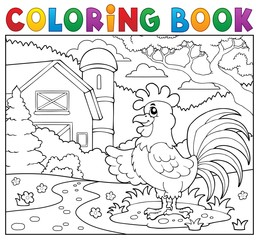 Coloring book rooster near farm