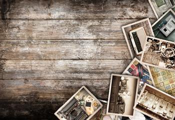 fotografie vintage collage su fondo legno
