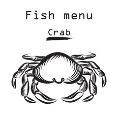 Crab seafood icon. Sea food menu label. Fish restraunt cover background.
