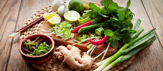 asian food cooking board ingredients lime chili