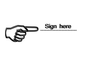Finger pointing sign here on white background