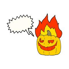 speech bubble cartoon flaming halloween pumpkin