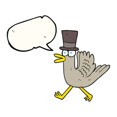 speech bubble cartoon duck in top hat