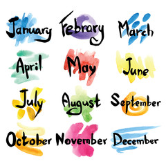 Hand drawn months with watercolor colorful blots. Vector illustration.
