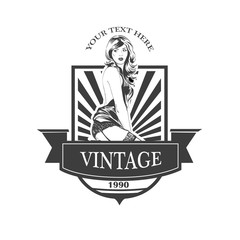 Vintage emblem with  pin up pretty woman. Vector illustration