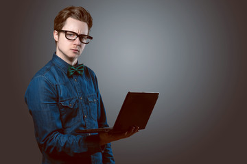 Nerdy Guy with Notebook