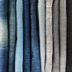 close up of jeans pile.