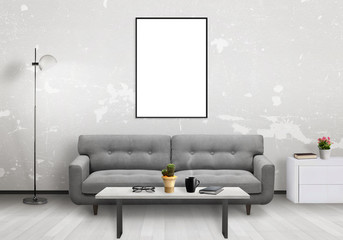 Isolated vertical art frame. Living room interior with sofa, lamp, cabinet, table, glasses, book, coffee.