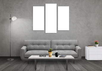 Isolated wall art canvas on gray wall. Living room interior with sofa, lamp, cabinet, table, glasses, book, coffee.