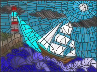 Illustration in stained glass style with sailboat and lighthouse against the sky and the sea