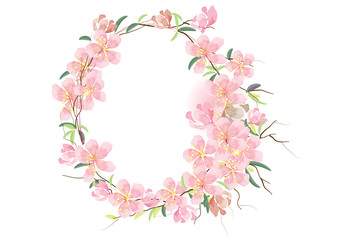 Cherry blossom  and abstract leaves  circle border design ,vector illustration
