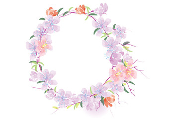 purple flowers with leave border frame vector illustration