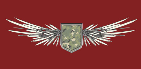 Realistic blank shield with stylized wings made of swords, blades and daggers
