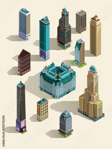 Isometric Buildings Set Isolated Icon Landmarks 3d Map Home Town Skyscraper