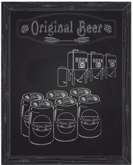six cans of beer and brewery