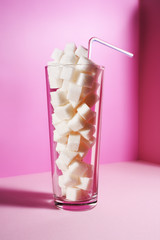 Cup of sugar cubes