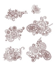 Mehndi design elements with flowers and butterfly