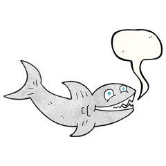 speech bubble textured cartoon shark