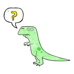 speech bubble textured cartoon confused dinosaur