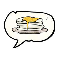 speech bubble textured cartoon stack of pancakes
