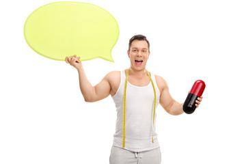 Man holding a huge diet pill and speech bubble