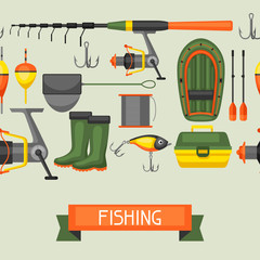 Seamless pattern with fishing supplies. Background made without clipping mask. Easy to use for backdrop, textile, wrapping paper