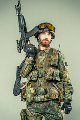 Special force soldier with a gun