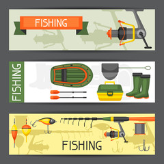 Background with fishing supplies. Design for flayers, covers, brochures and advertising booklets