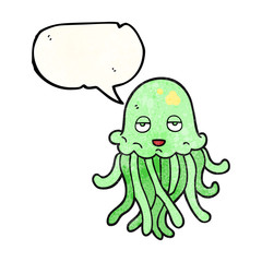 speech bubble textured cartoon octopus