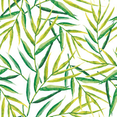 Green palm leaves on the white background. Watercolor seamless pattern with tropical plant.