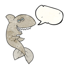 speech bubble textured cartoon laughing shark