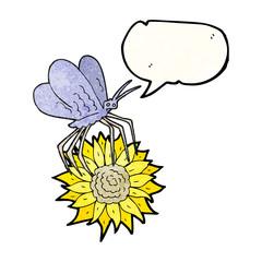speech bubble textured cartoon butterfly on flower