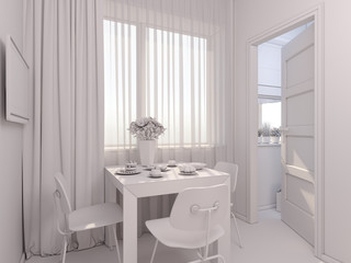 Deurstickers Boho Stijl 3D render of interior design kitchen in a studio apartment in a modern minimalist style. The illustration shows a table near a window and a small storage room