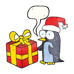 texture speech bubble cartoon christmas penguin with present