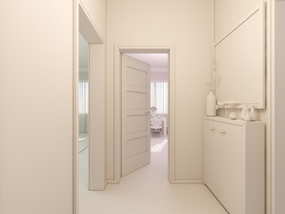 3D render of interior design entrance hall in a studio apartment in a modern minimalist style.  The illustration shows the open doors in the living room, kitchen, hallway and large closet