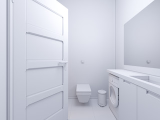 3d render of interior design bathroom. The illustration shows the bedside table with a mirror in white color, under which there is a washing machine.