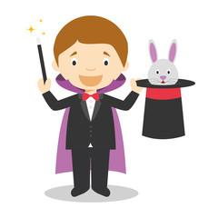 Cute cartoon vector illustration of a magician